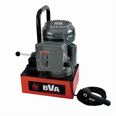 BVA Hydraulics Electric Pumps with Locking Manual Valve and Pendant Switch for Single Acting Cylinders PE30W3L02A