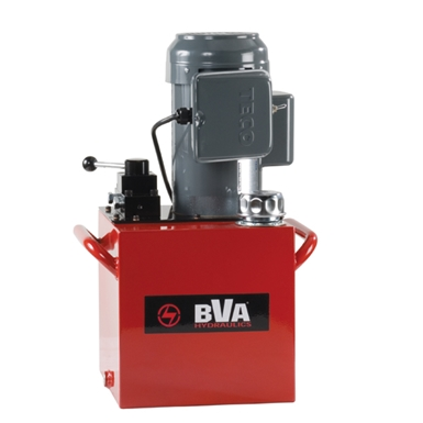 BVA Hydraulics Electric Pumps with Locking Manual Valves for Single Acting Cylinders PE50M3L15A