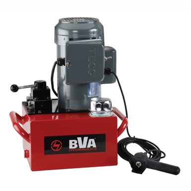 BVA Hydraulics Electric Pumps with Locking Manual Valve and Pendant Switch for Single Acting Cylinders PE50W3L03A