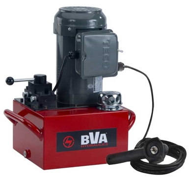 BVA Hydraulics Electric Pumps with Locking Manual Valve and Pendant Switch for Double Acting Cylinders PE50W4L10A