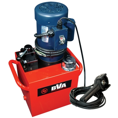 BVA Hydraulics Electric Pumps with Locking Manual Valve and Pendant Switch for Single Acting Cylinders PEWL3015T